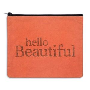 "Large Makeup Bag 11""x9"" Hello Beautiful Clutch"